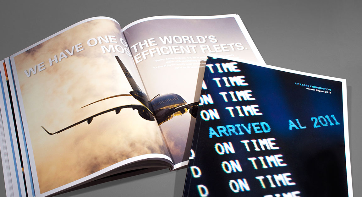 Cover and interior spread for Air Lease corporate report design.