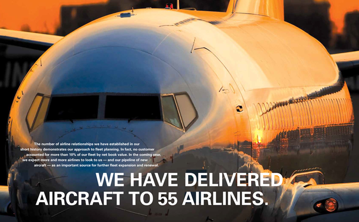 Close-up of airplane for interior spread of corporate report for Air Lease.