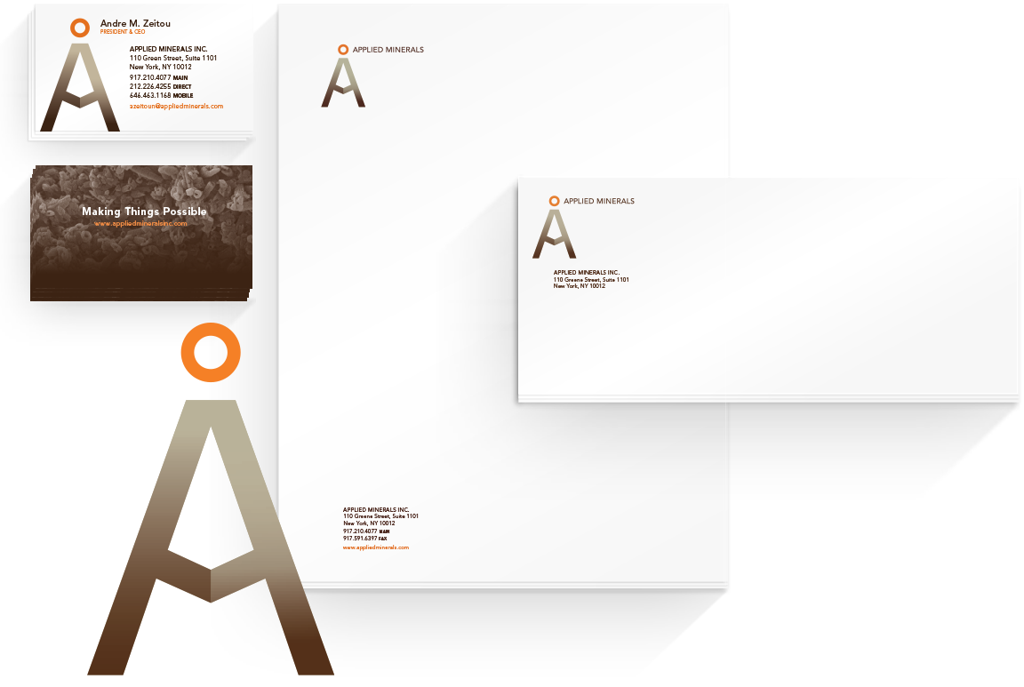 Branding applied to the business papers for the technology company Applied Minerals.