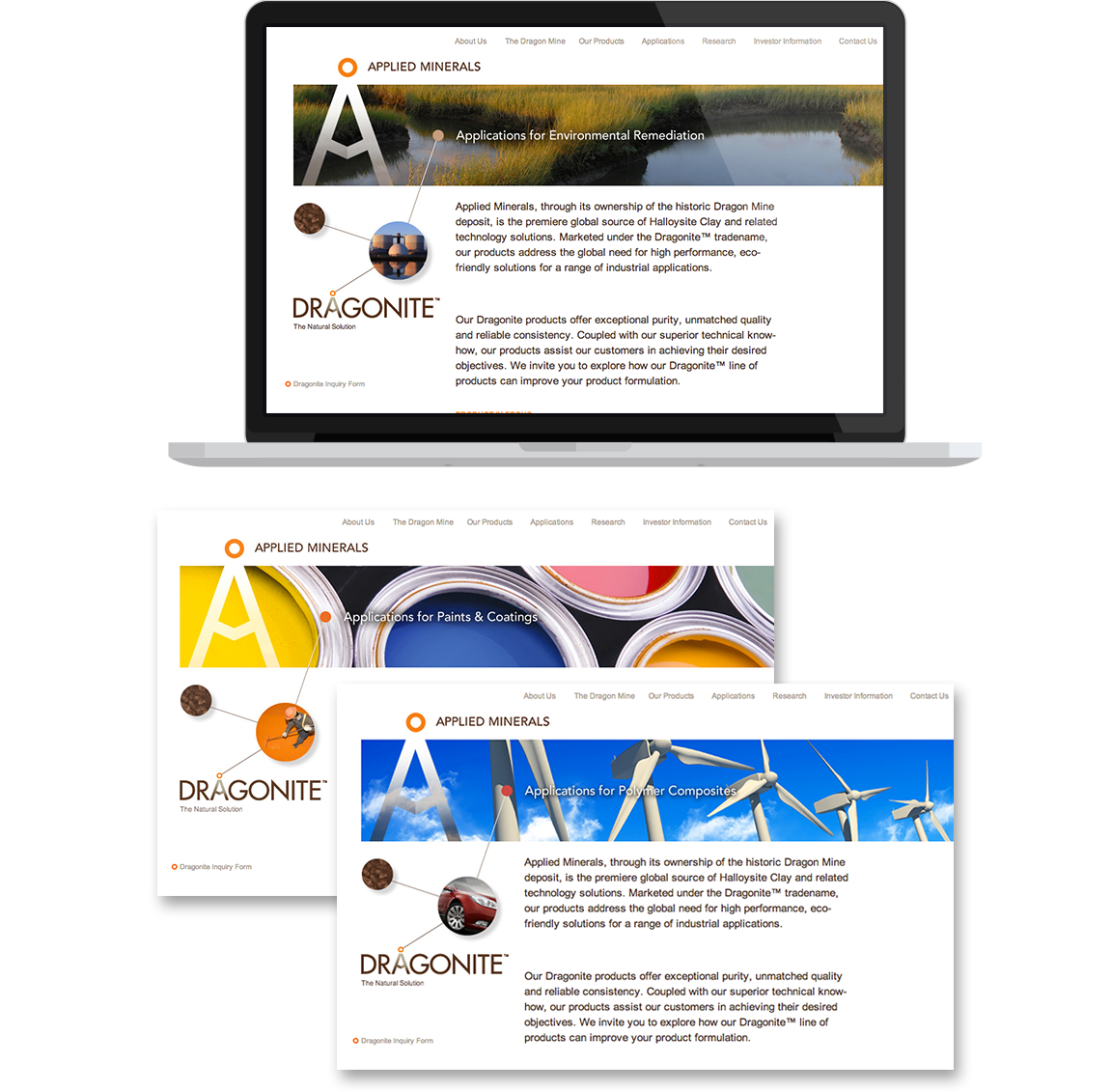 Branding applied to the website design for the technology company Applied Minerals.