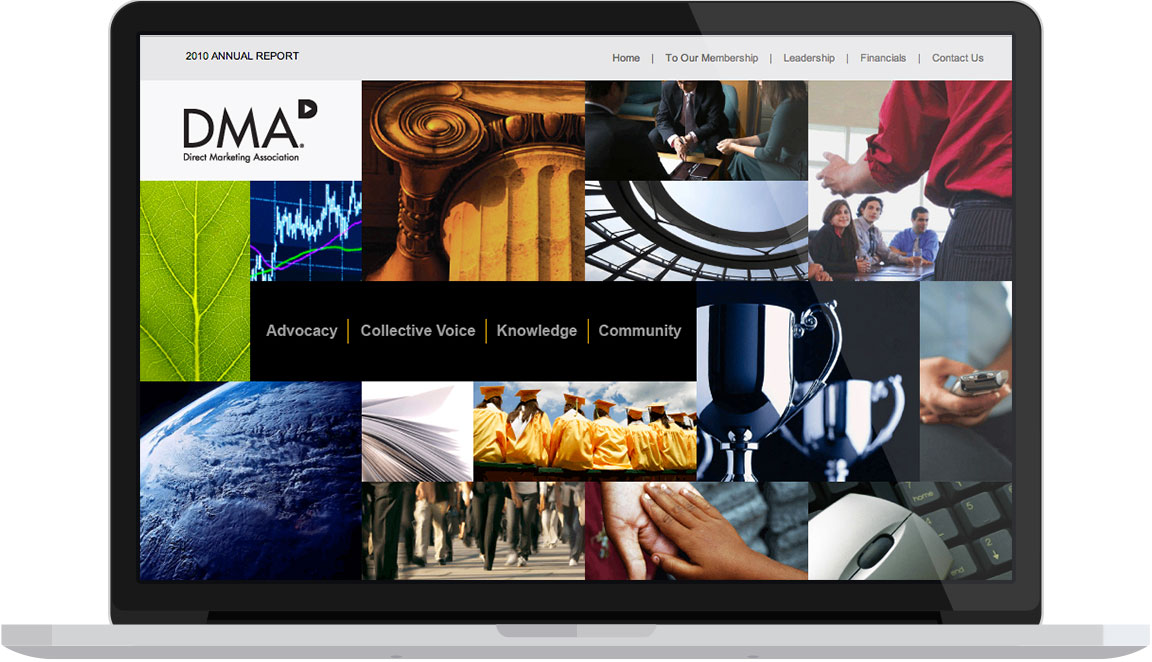 Homepage design of the annual report for the nonprofit DMA seen on a laptop.