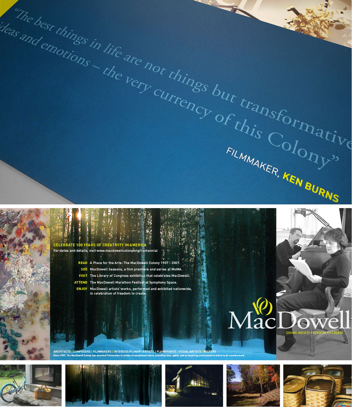 Marketing materials created for The MacDowell Colony brand identity system