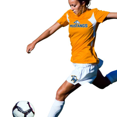 Young athlete with Milton Mustang sports branding on soccer uniform shirt and shorts.