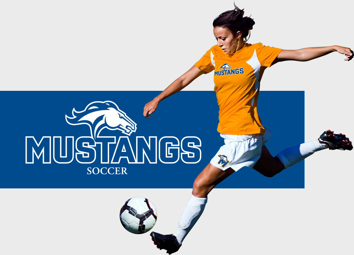 Milton Mustang sports branding logo and typography applied to soccer clothing of young athlete.