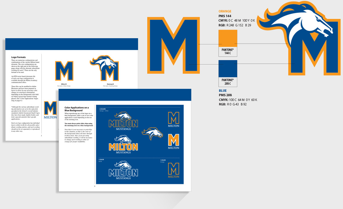 Sample pages and school colors form the branding guidelines for the Milton Mustang sports' teams.