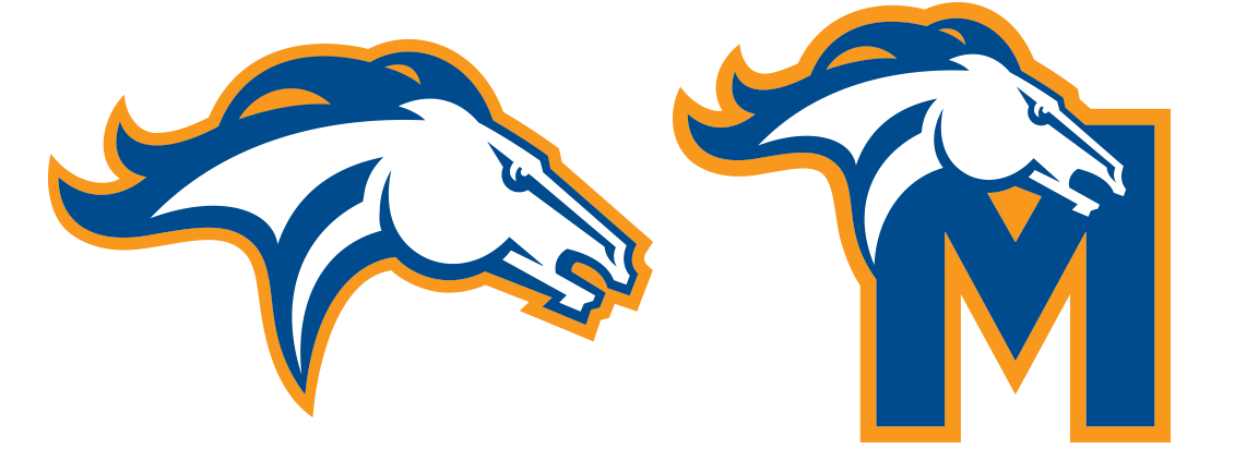 "Milton Mustang sports branding – logo and ""M"" typography."
