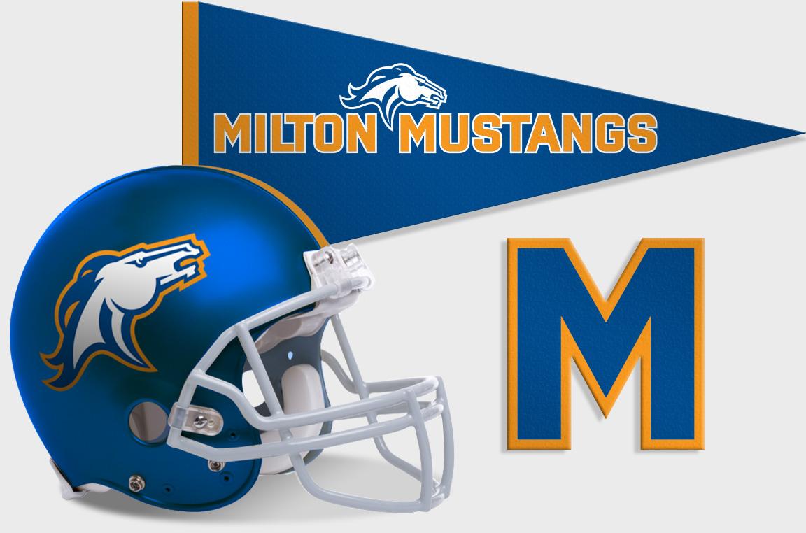Application of Milton Mustang sports branding.