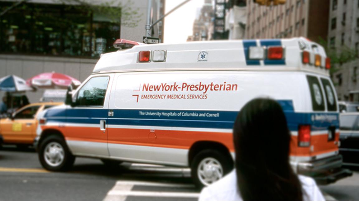 New York-Presbyterian branding on an ambulance.