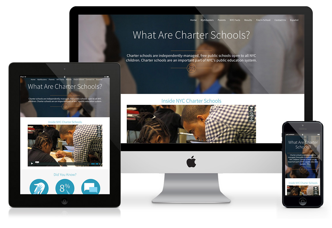 Microsite design viewed on multiple devices for nonprofit charter school center.