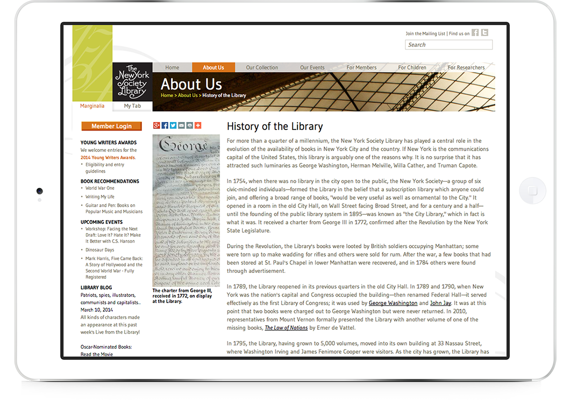 Library branding and website design for The New York Society Library events page viewed on a tablet