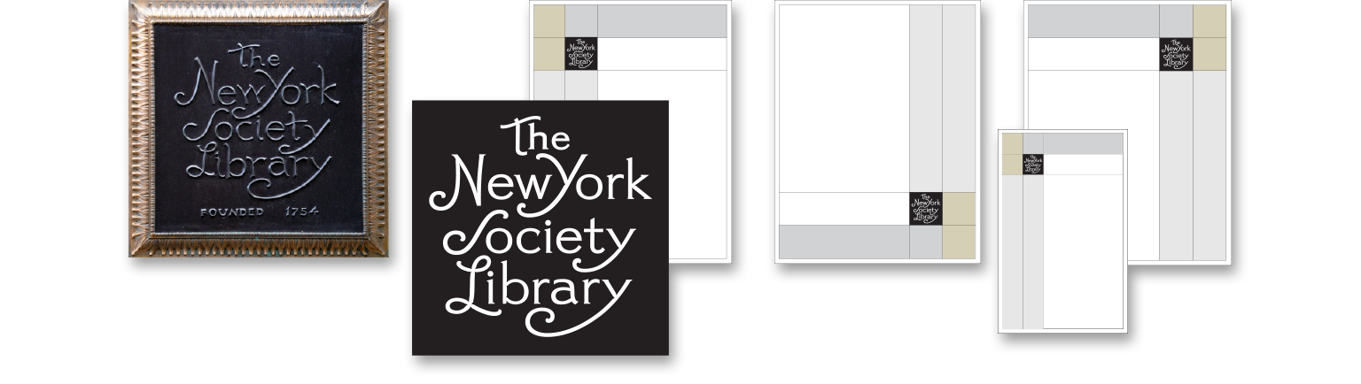 Logo design and graphic system created for the library branding of The New York Society Library