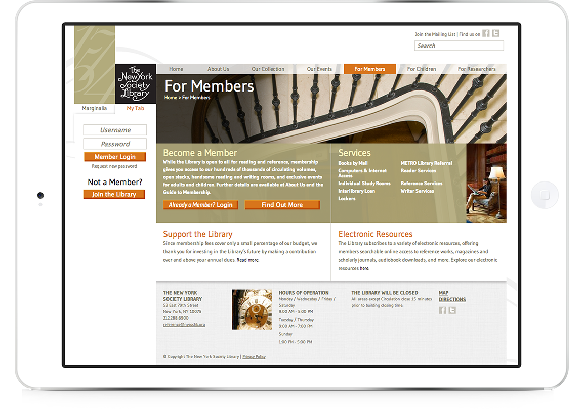 Library branding and website design as viewed on a tablet for New York Society Library