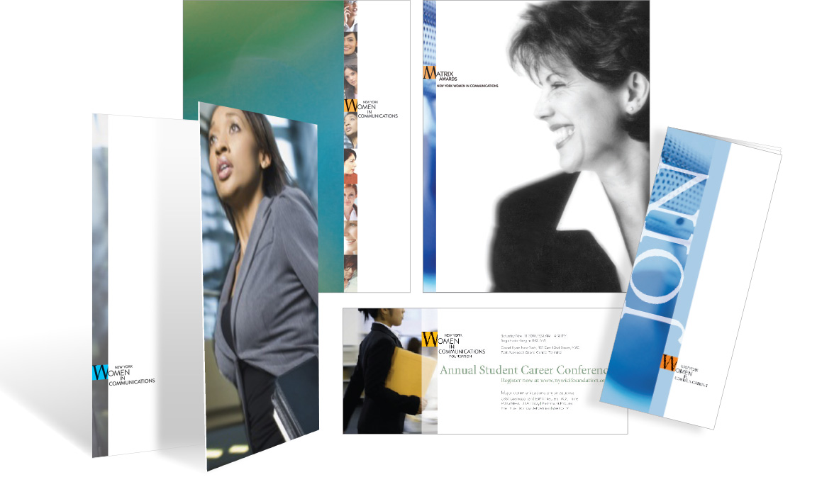 Branding for the nonprofit New York Women In Communications and its Matrix Awards applied to ads, mailers, brochures and a pocket folder.