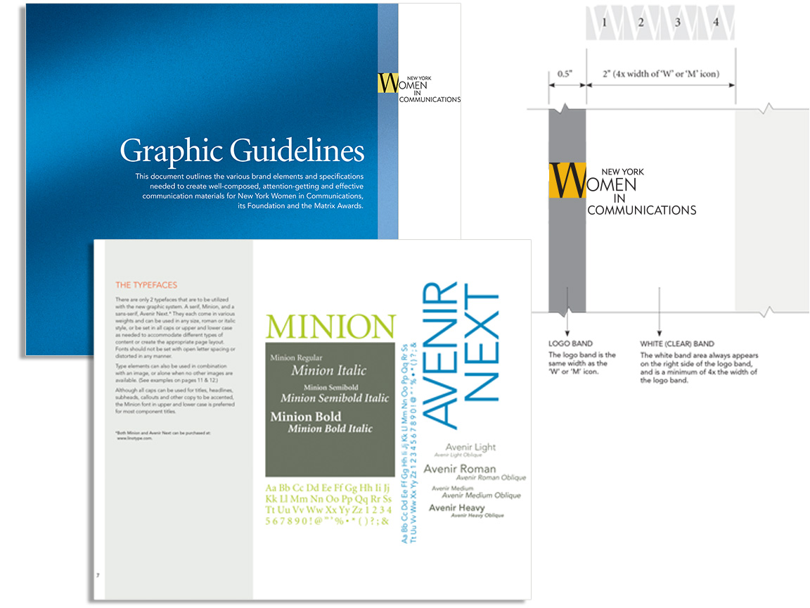 Graphic guidelines for the branding of the nonprofit New York Women In Communications and its Matrix Awards.
