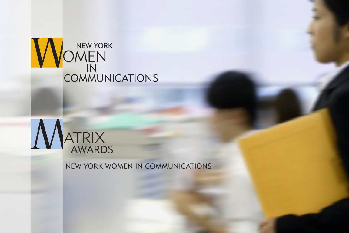 The branding for the nonprofit New York Women In Communications and its Matrix Awards showing the relationship of the two organizations applied to an image of a woman walking.