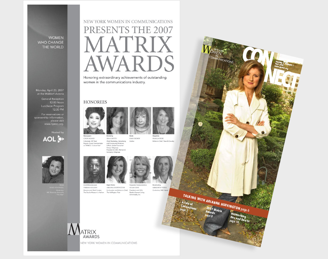"""Branding for the nonprofit New York Women In Communications and its Matrix Awards applied to their newsletter """"Connect"""" and in an ad featured in the New York Times."""