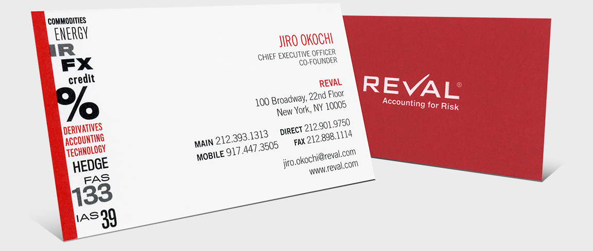 Reval branding and design applied to business cards.