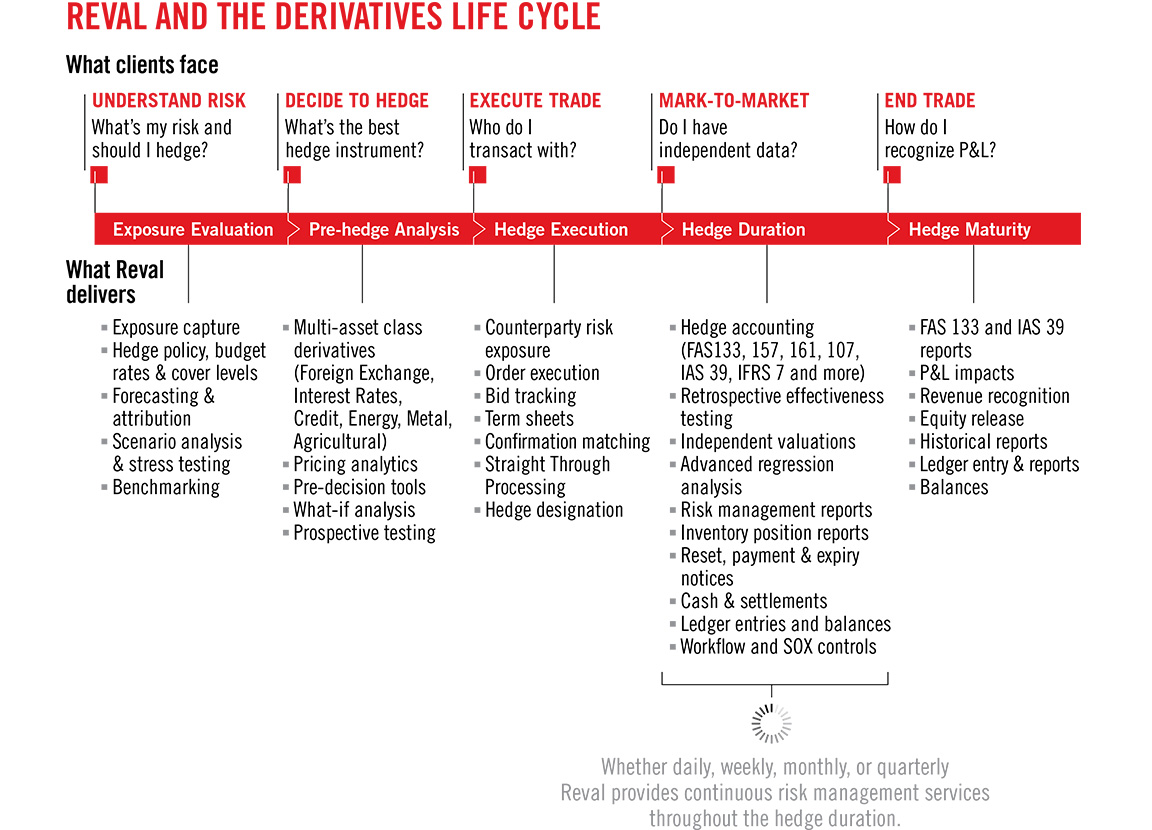 Reval branding and design derivative life cycle information graphics.