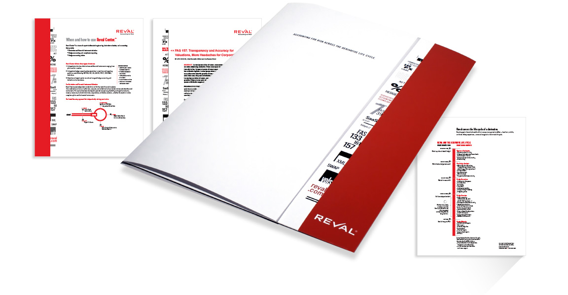 Image of Reval branding and design applied to a marketing pocket folder and product sheets.
