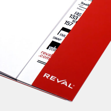 branding-and-desgn-pocket-folder-graphics Reval branding and design applied to a marketing pocket folder.