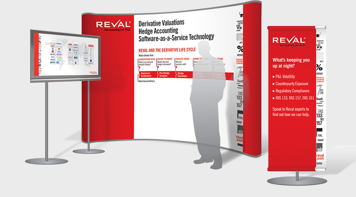 Reval branding and design applied to trade show graphics.