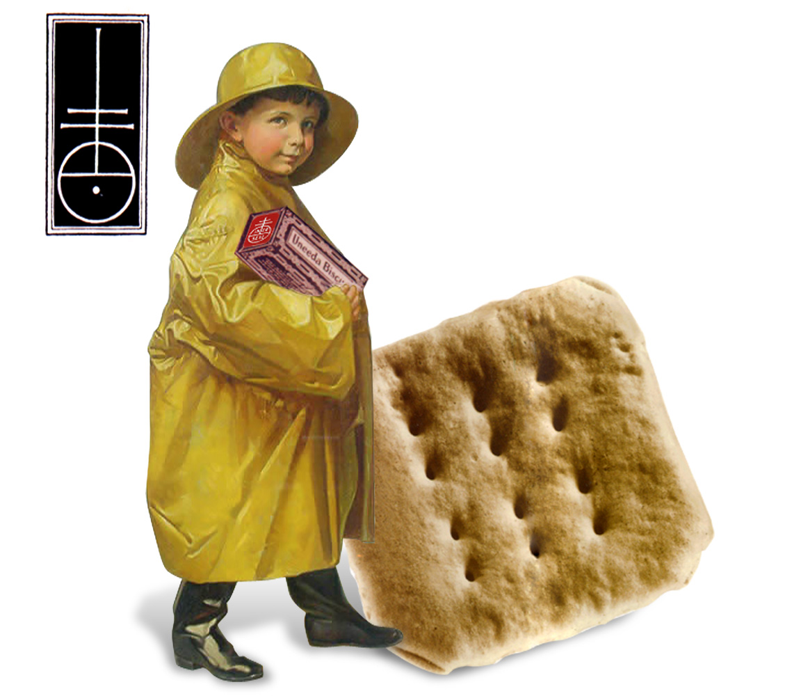 The 15th century printers mark that inspired the original Nabisco logo with the Uneeda Biscuit Boy and cracker used for advertising.