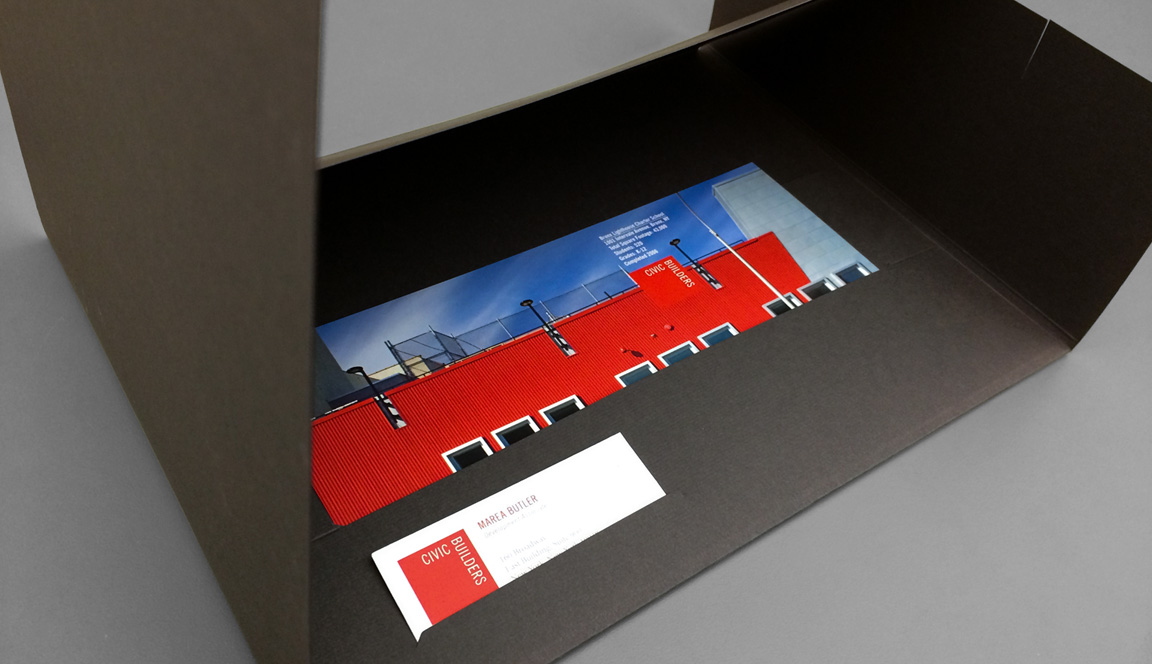 Marketing materials – pocket folder, charter school inserts, and business card – that are part of the visual identity and design for Civic Builders.