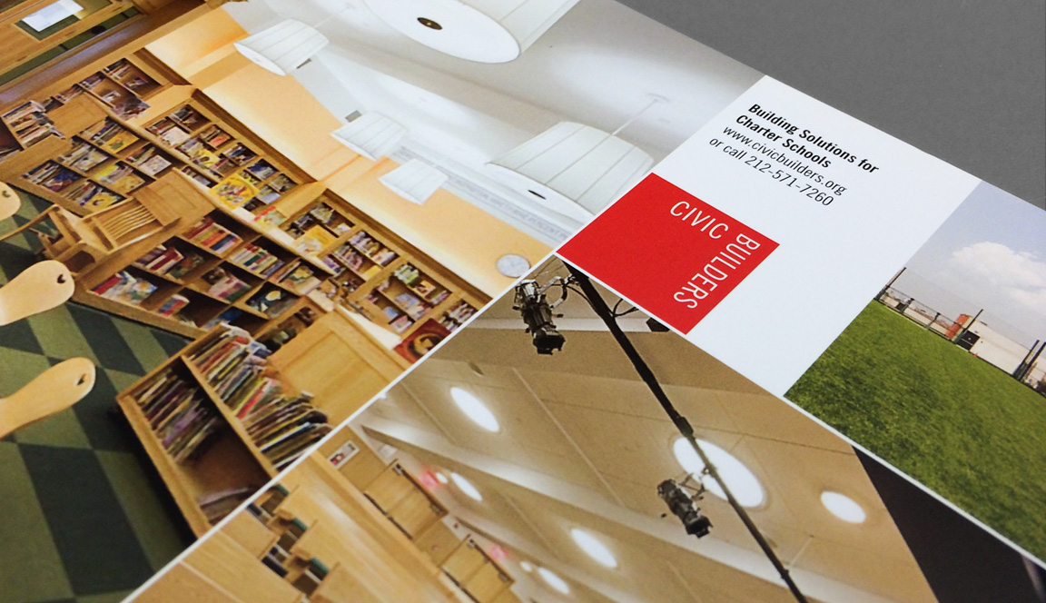 A detail of marketing materials that are part of the visual identity and design for Civic Builders.