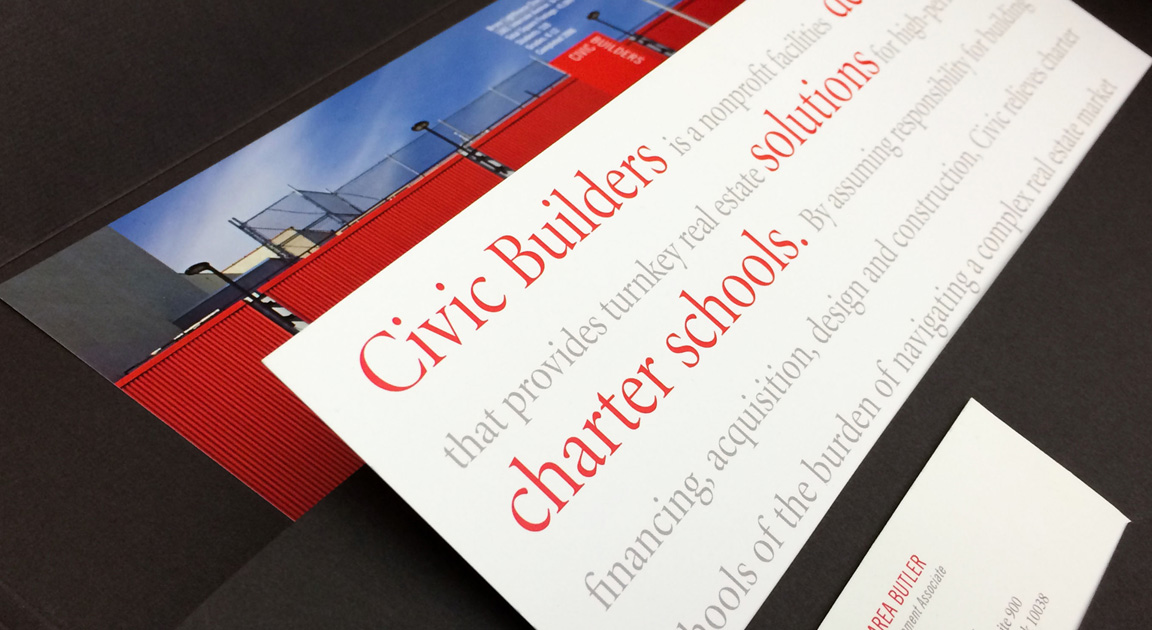 Design detail of overview insert created for the visual identity of Civic Builders.