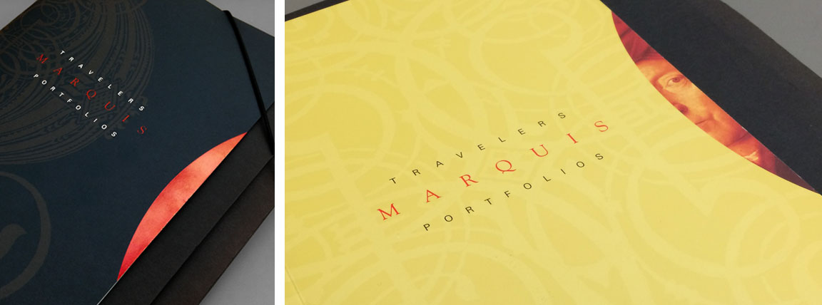 Folder and brochure showing the application of the branding to the Marquis Portfolios financial product.