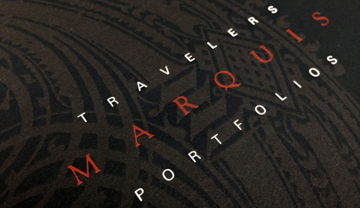 Cover detail of the Marquis Portfolios financial product folder.