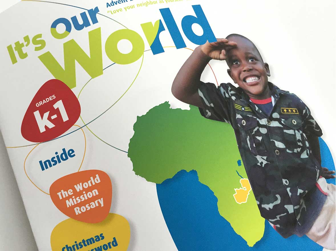 "Cover design for the newsletter ""It's Our World"" of the nonprofit organization Missionary Childhood Association."