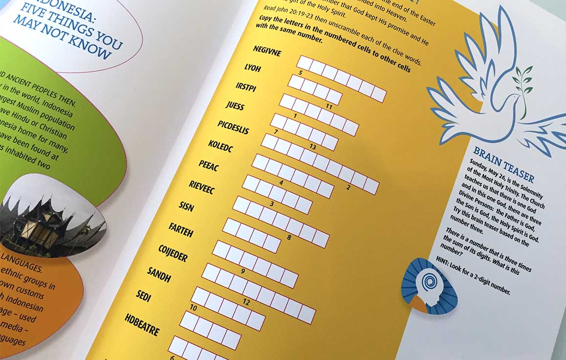 Page detail for the newsletter design of the nonprofit organization Missionary Childhood Association showing a word puzzle.