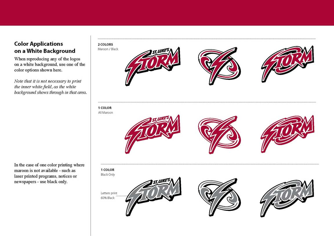 Brand guidelines showing color application of the Storm logo created for the sports branding of St. Luke's School.