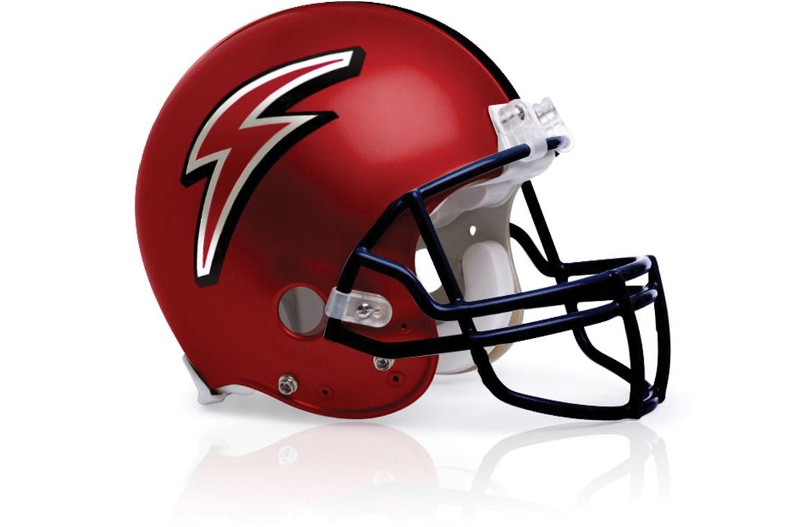 Logo application for the sports branding of St. Luke's School's football team helmet.