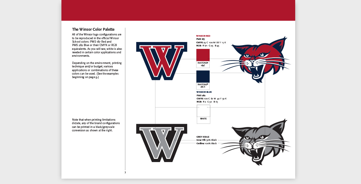 Sports branding guidelines for the application of the Winsor School's Wildcat mascot and wordmarks