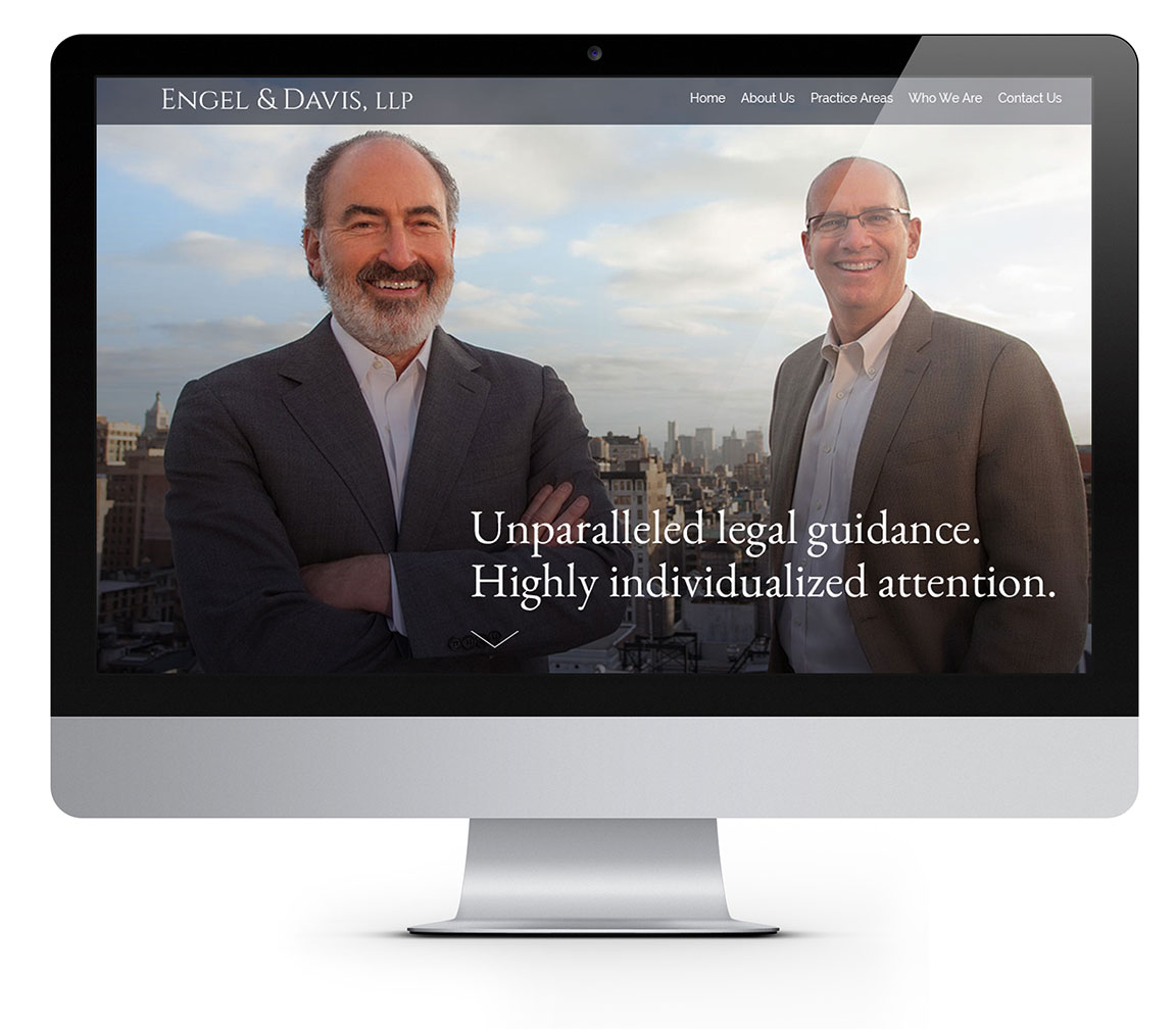 Main page imagery of the website design for attorneys Engel & Davis, LLC viewed on an iMac.