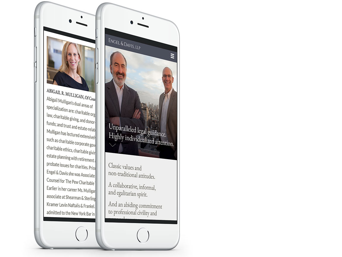 Mobile view of the website design for attorneys Engel & Davis, LLC.