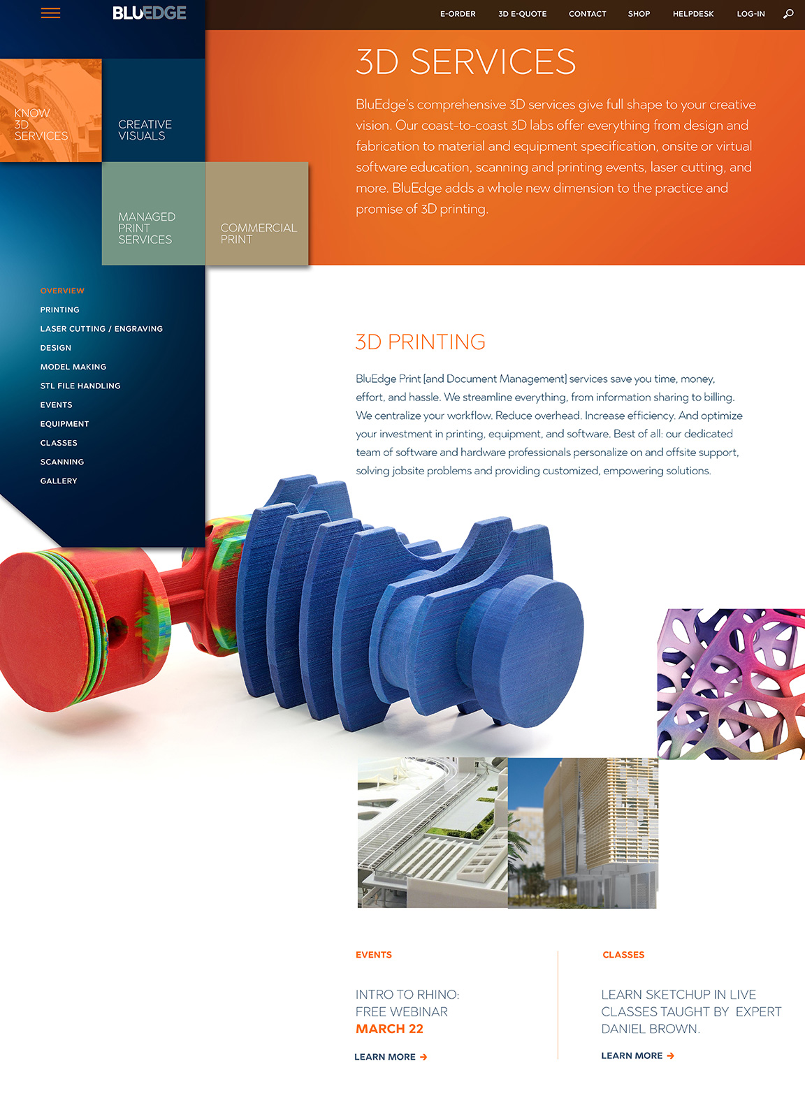BluEdge company rebranding applied to the 3D services website page