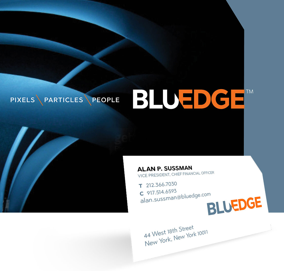 BluEdge company rebranding applied to a business card and PowerPoint cover page