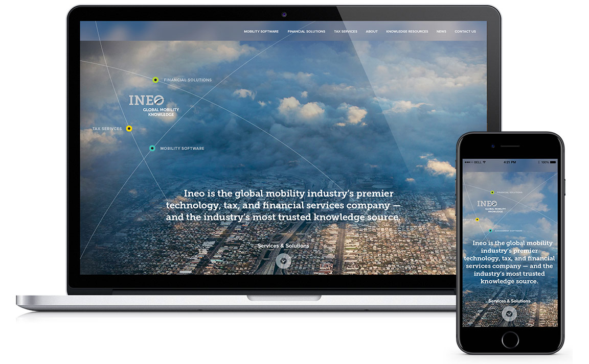 Ineo website design as viewed on a laptop and phone