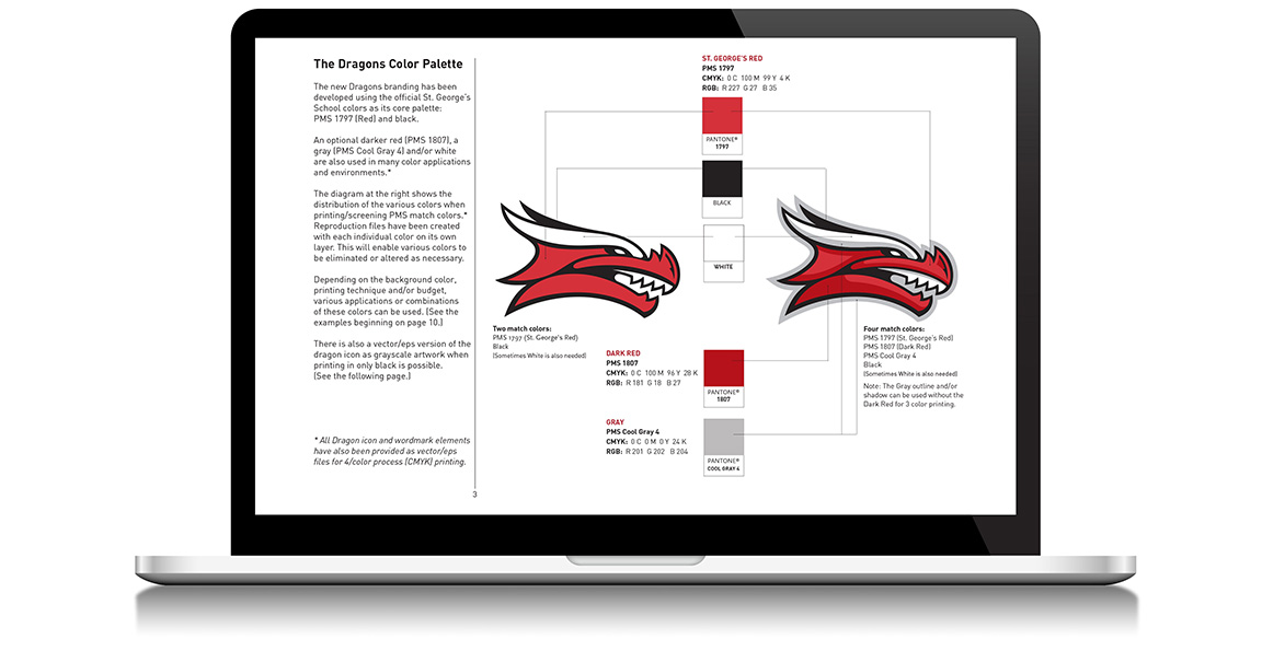Athletic branding guidelines for St. George's School Dragon mascot