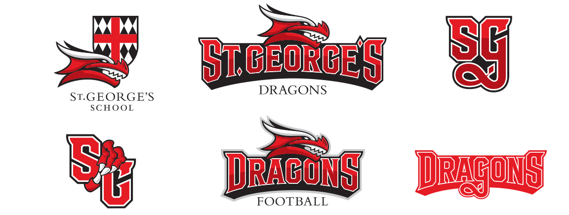 Atheltic branding logo variations for St. George's School Dragon mascot