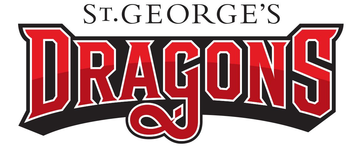Athletc branding logo for St. George's School Dragon's wordmark