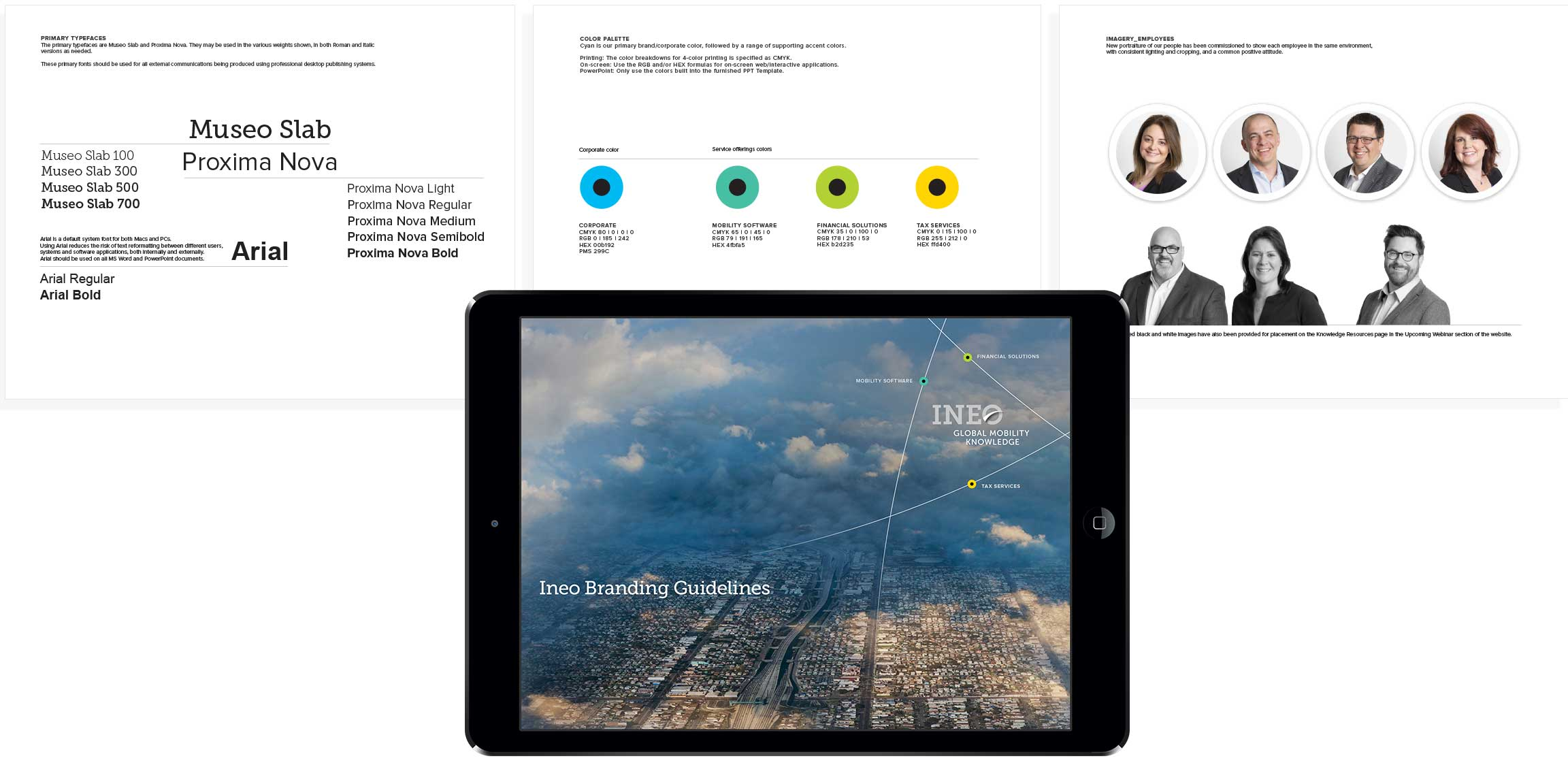 Ineo brand guidelines created as part of the company's strategic brand development.