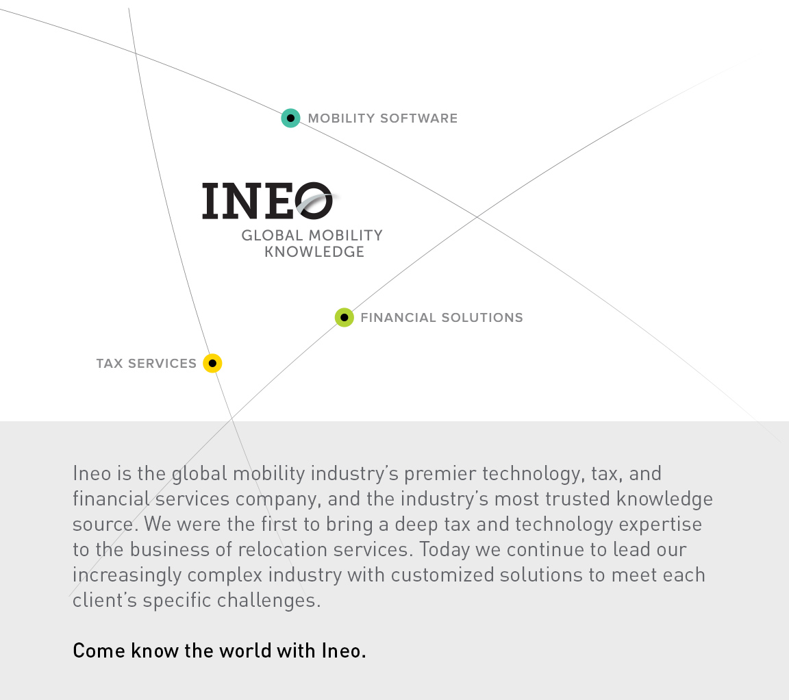 Created as part of the strategic brand development is Ineo's positioning and graphic elements – the firm's logo in the center of a graphic element of latitude and longitude coordinates – with each line and circle representing one of the company's core service areas.