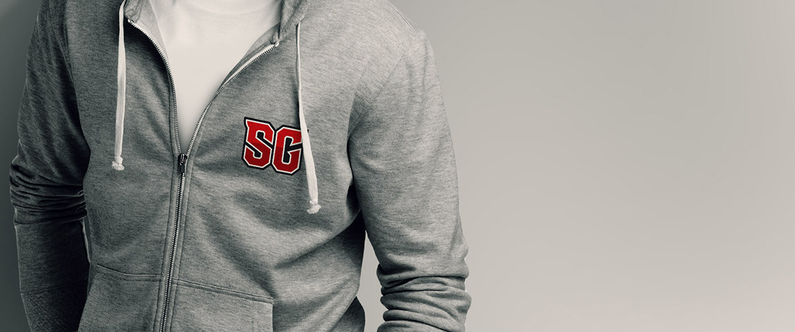 St. George's School athletic brand monogram on a hoodie