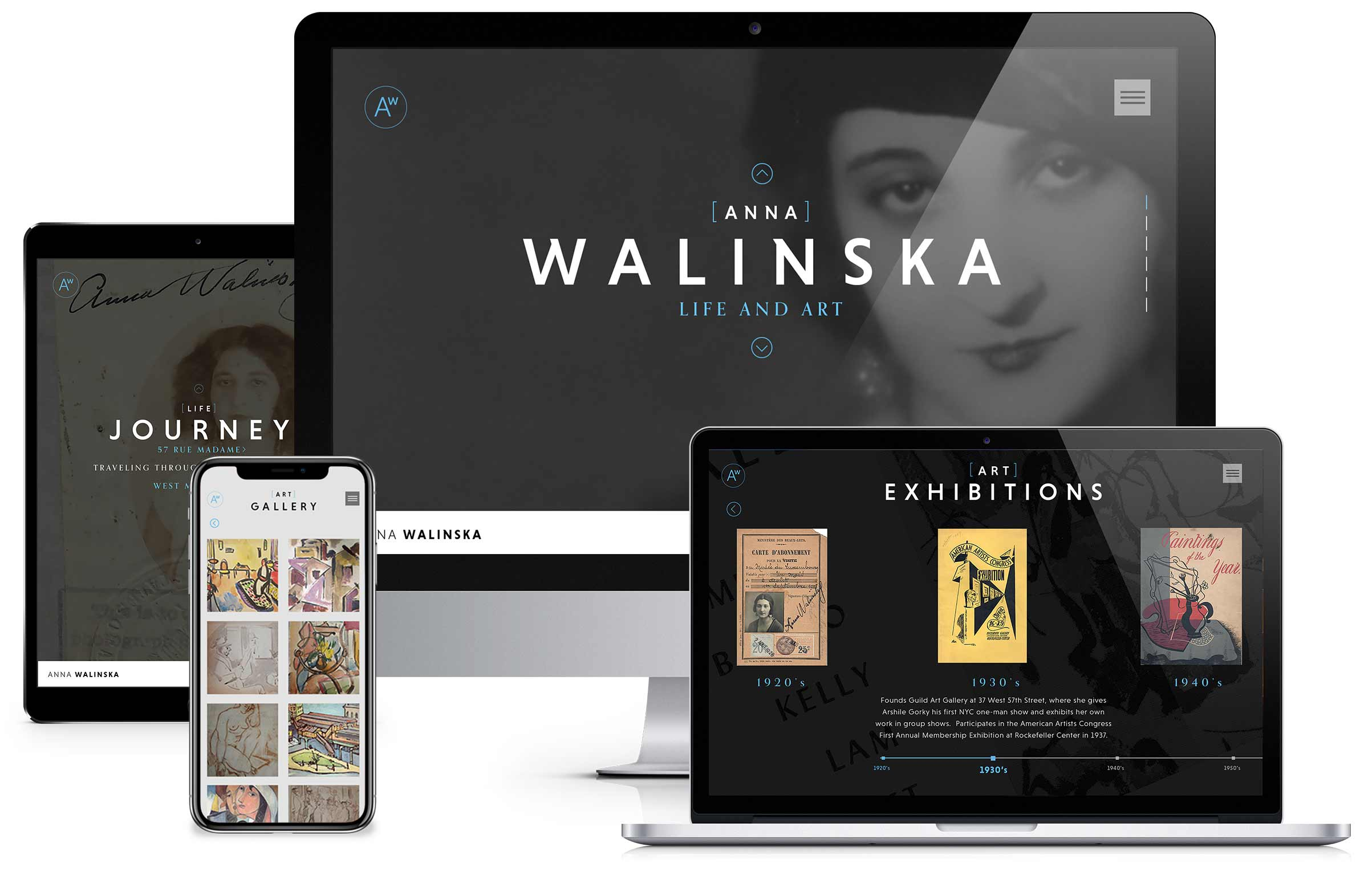 Website design and branding for Artist Anna Walinska website shown on various devices