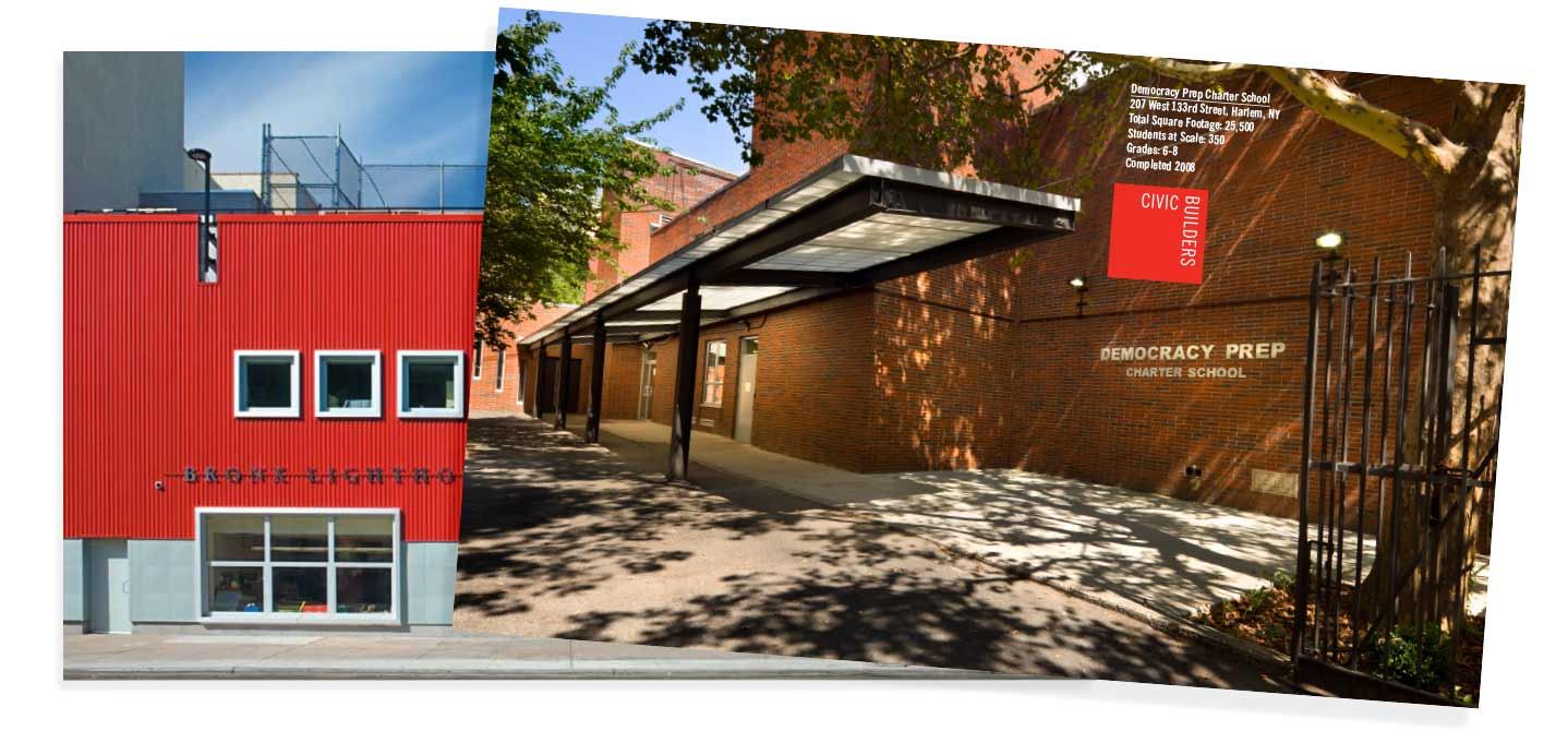 Design of the individual school inserts created for the visual identity of Civic Builders.