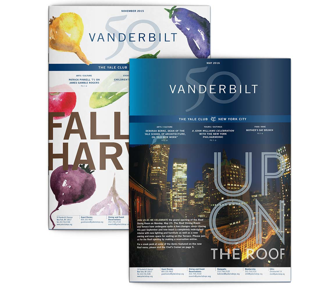 50 Vanderbilt newsletter cover designs incorporating the graphic system elements to unify the private club marketing communications.